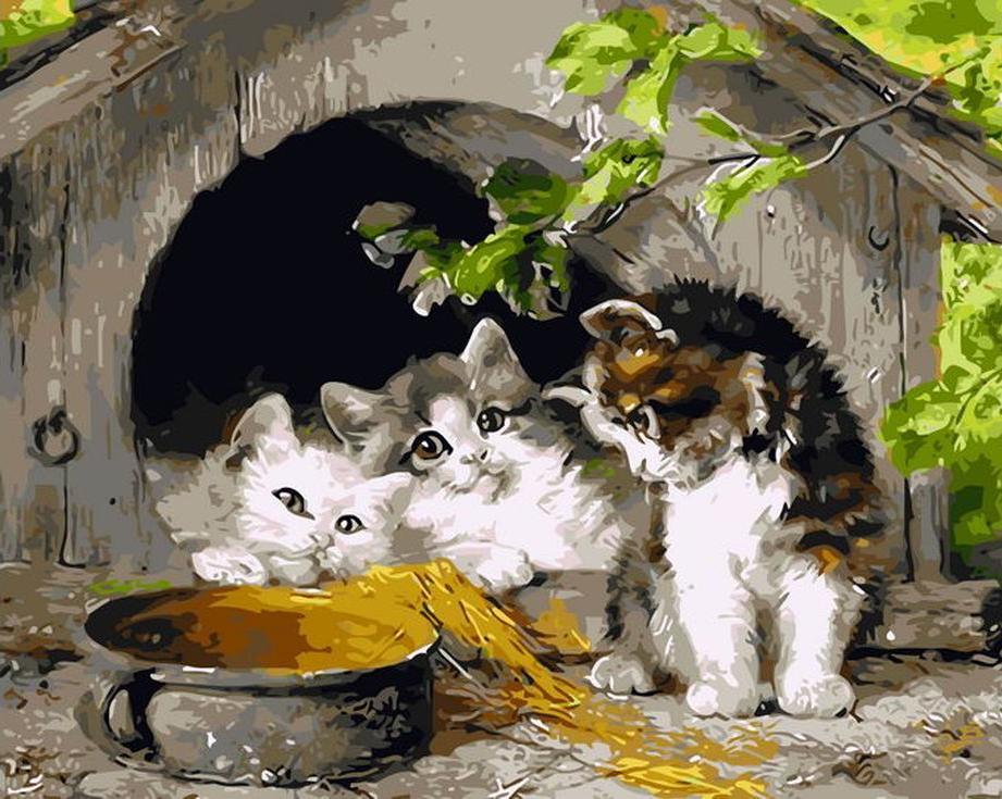 «Котята» Юлиуса АдамаРаскраски по номерам Menglei (Standart)<br><br><br>Артикул: MG8245_S<br>Основа: Холст<br>Сложность: средние<br>Размер: 40x50 см<br>Количество цветов: 23<br>Техника рисования: Без смешивания красок