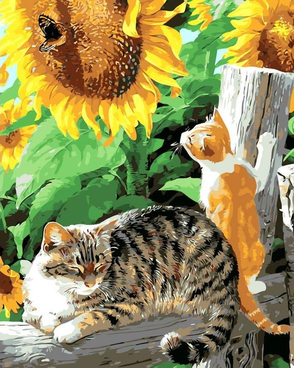 «Котики в подсолнухах»Раскраски по номерам Menglei (Standart)<br><br><br>Артикул: MG8248_S<br>Основа: Холст<br>Сложность: сложные<br>Размер: 40x50 см<br>Количество цветов: 22<br>Техника рисования: Без смешивания красок