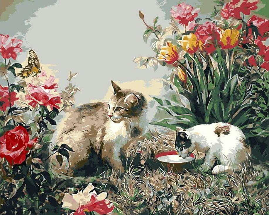 «Два котика в цветах»Раскраски по номерам Menglei (Standart)<br><br><br>Артикул: MG8256_S<br>Основа: Холст<br>Сложность: сложные<br>Размер: 40x50 см<br>Количество цветов: 25<br>Техника рисования: Без смешивания красок