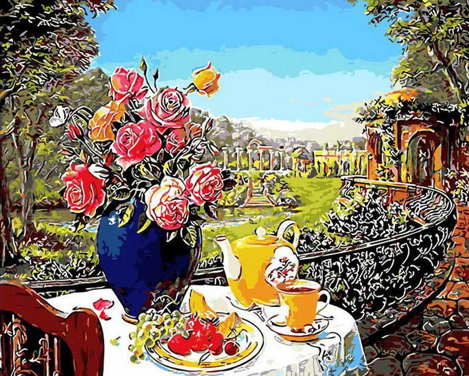 «Летняя идиллия»Раскраски по номерам Menglei (Standart)<br><br><br>Артикул: MG8280_S<br>Основа: Холст<br>Сложность: средние<br>Размер: 40x50 см<br>Количество цветов: 22<br>Техника рисования: Без смешивания красок
