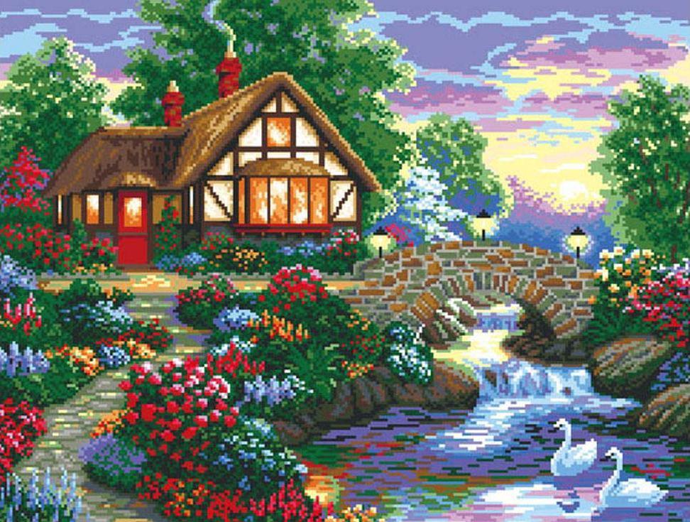 Стразы «Дом у речки»Алмазная вышивка Color Kit (Колор Кит)<br><br><br>Артикул: MO014<br>Основа: Холст без подрамника<br>Сложность: сложные<br>Размер: 68x52 см<br>Выкладка: Полная<br>Количество цветов: 31<br>Тип страз: Круглые непрозрачные (акриловые)