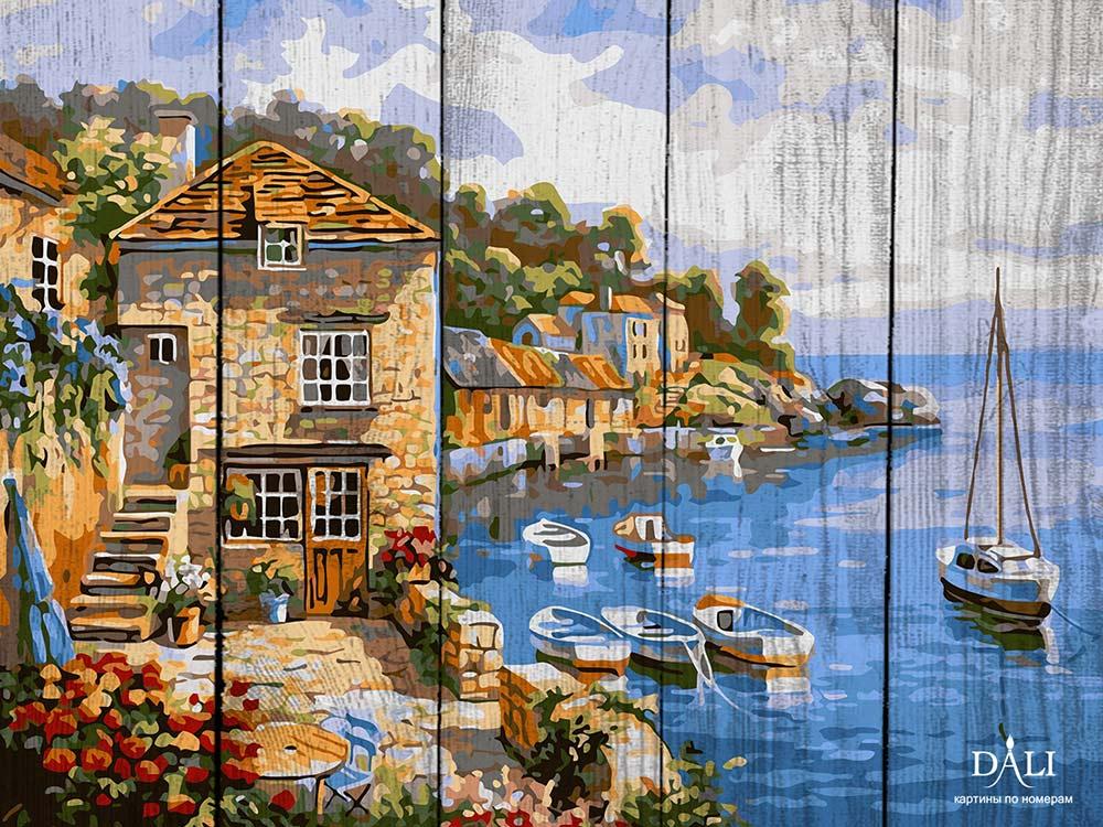 Купить Картина по номерам по дереву Dali «Город у моря» Сен Кима