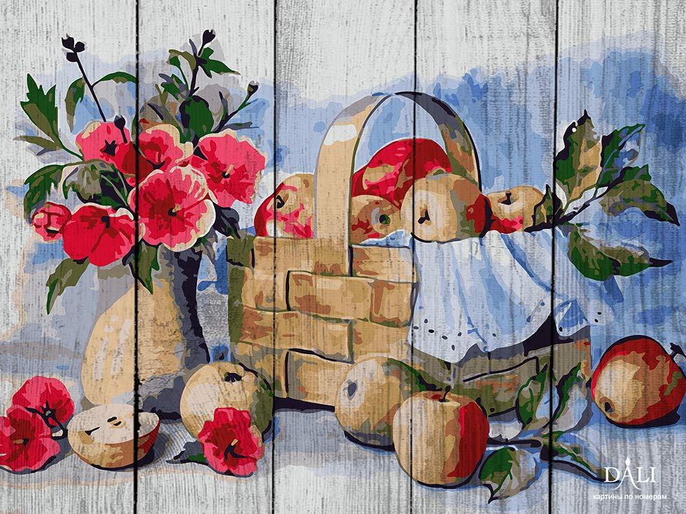Картина по номерам по дереву Dali «Корзина с яблоками» Валентины ВалевскойКартины по номерам по дереву Dali<br>Новинка в наборах для творчества - картины по номерам по дереву Dali. Преимущества максимальной комплектации понятны с первого взгляда, в наборе есть все, чтобы создать невероятный по красоте шедевр. Однако не только в этом уникальность новинки, ведь<br> де...<br><br>Артикул: WB018<br>Основа: Деревянное панно<br>Сложность: очень сложные<br>Размер: 40x50 см<br>Количество цветов: 24<br>Техника рисования: Без смешивания красок