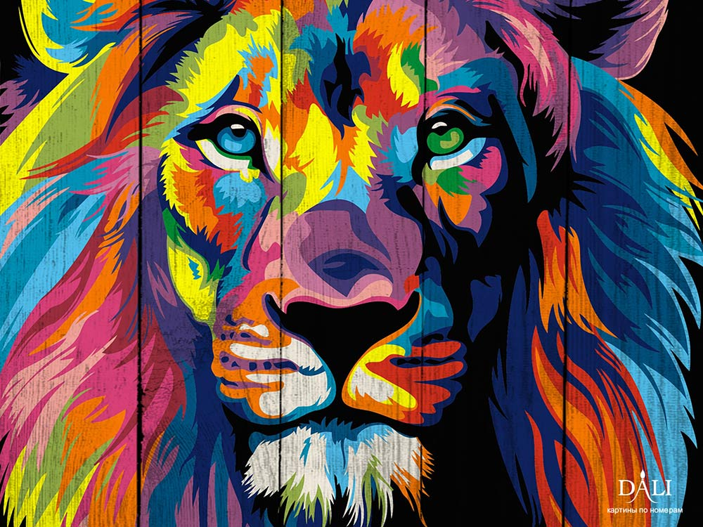 Картина по номерам по дереву Dali «Лев pop-art» Ваю Ромдони, 40x50 см, WH014  - купить со скидкой