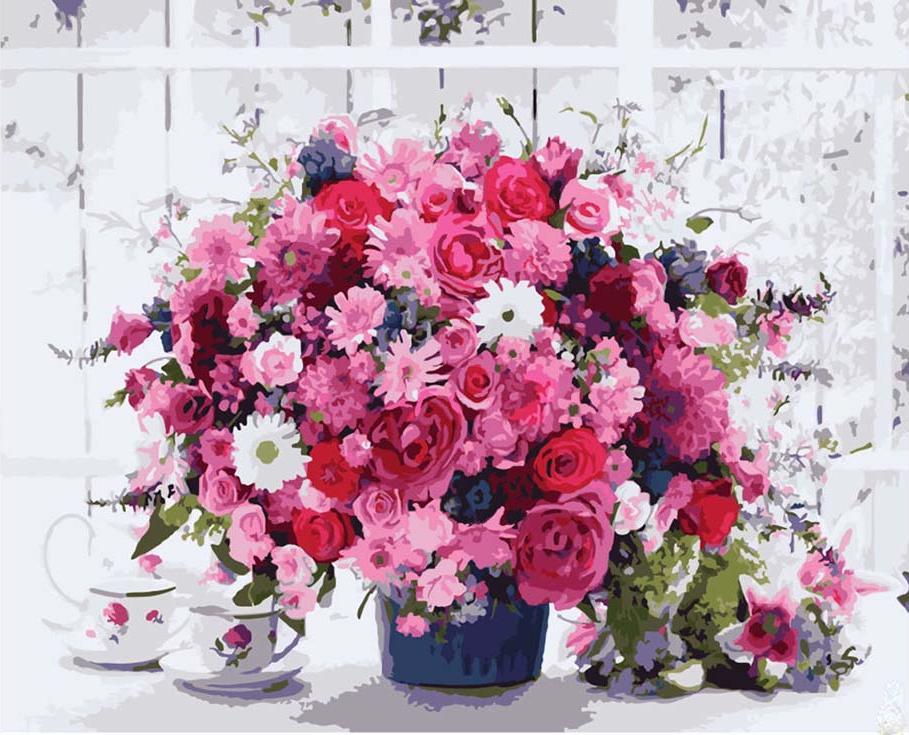 «Розовый букет»Раскраски по номерам Paintboy (Original)<br><br><br>Артикул: GX8069_R<br>Основа: Холст<br>Сложность: средние<br>Размер: 40x50 см<br>Количество цветов: 24<br>Техника рисования: Без смешивания красок