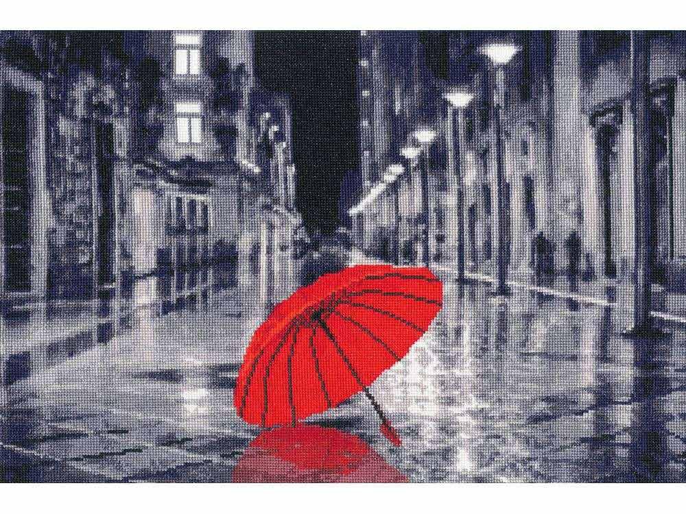 Набор для вышивания «Красный зонтик»Вышивка крестом Золотое Руно<br><br><br>Артикул: ГМ-024<br>Основа: канва Aida 18<br>Размер: 23,8x35,2 см<br>Техника вышивки: счетный крест<br>Тип схемы вышивки: Черно-белая схема<br>Цвет канвы: Кремовый<br>Количество цветов: 17<br>Заполнение: Полное<br>Рисунок на канве: не нанесён<br>Техника: Вышивка крестом<br>Нитки: мулине Madeira