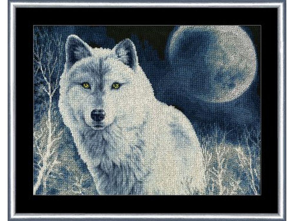 Вышивка крестом волк с голубыми глазами