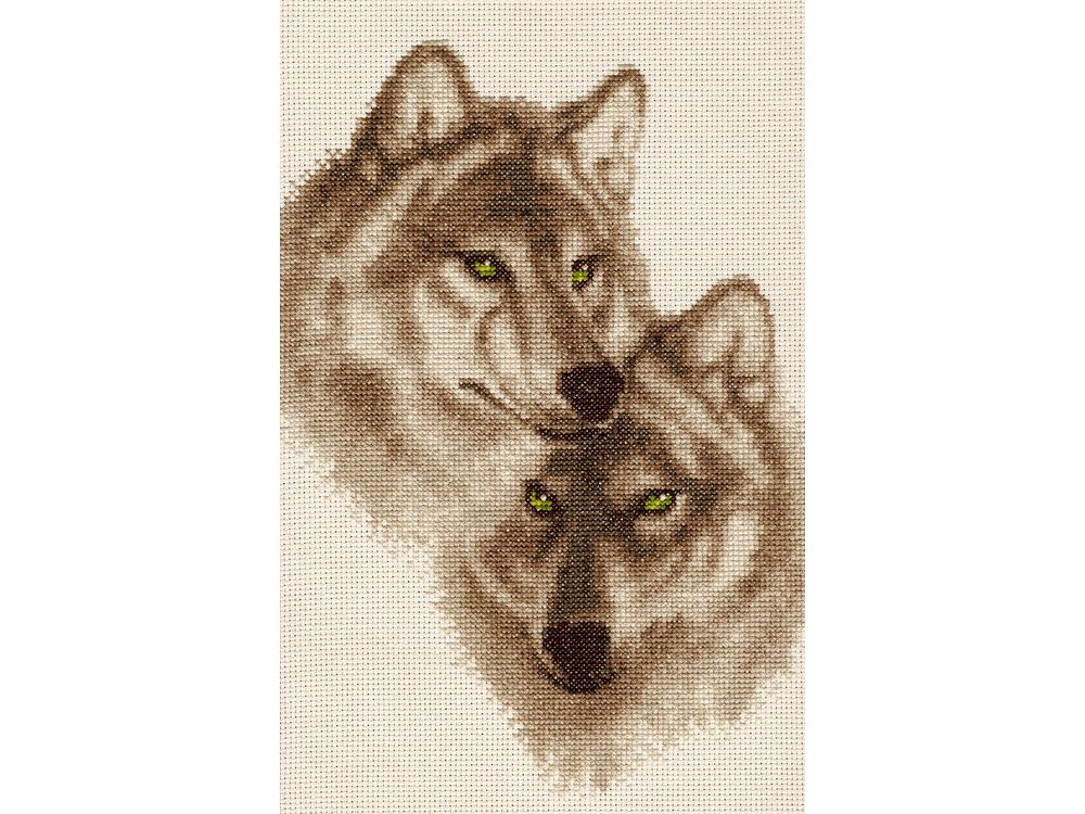 Набор для вышивания «Влюбленные волки»Вышивка крестом Золотое Руно<br><br><br>Артикул: ДЖ-037<br>Основа: канва Aida 14<br>Размер: 30,4x19,2 см<br>Техника вышивки: счетный крест<br>Тип схемы вышивки: Черно-белая схема<br>Цвет канвы: Кремовый<br>Количество цветов: 9<br>Заполнение: Частичное<br>Рисунок на канве: не нанесён<br>Техника: Вышивка крестом<br>Нитки: мулине Madeira