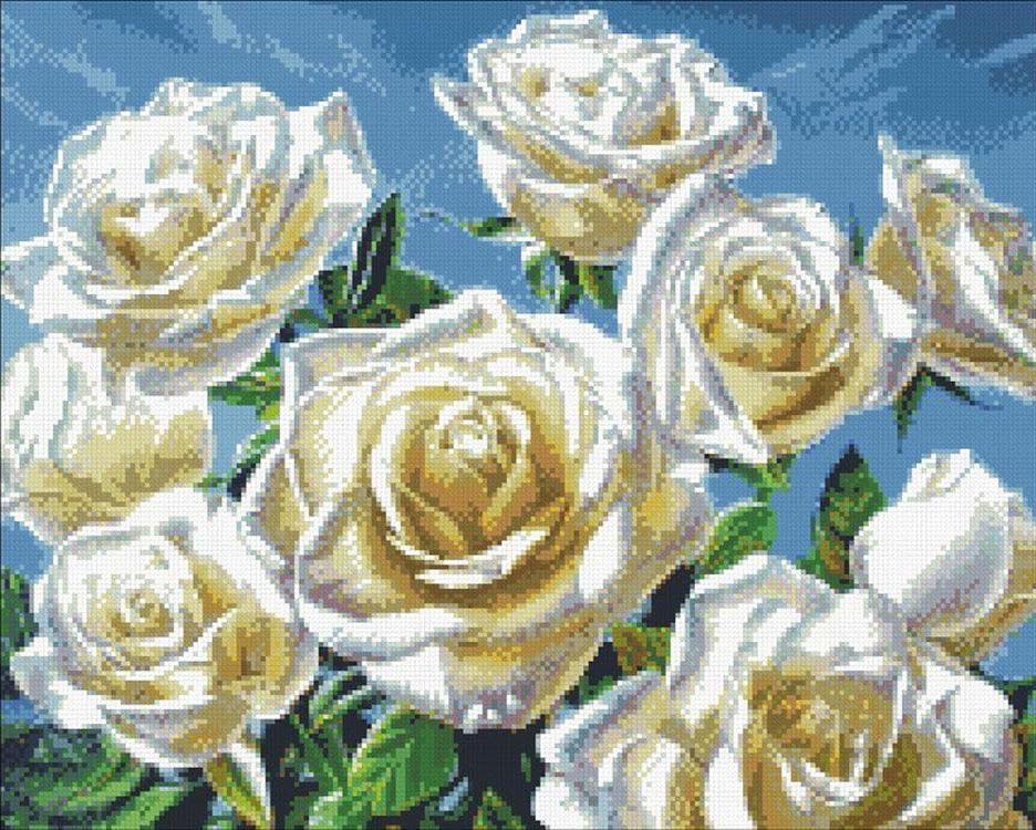 Стразы «Белые розы»Алмазна вышивка Паутинка<br><br><br>Артикул: М-243<br>Основа: Холст без подрамника<br>Сложность: очень сложные<br>Размер: 50x40 см<br>Выкладка: Полна<br>Количество цветов: 34<br>Тип страз: Квадратные