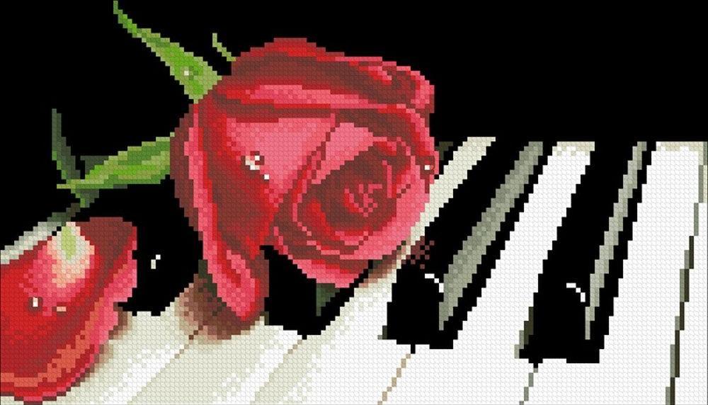 Стразы «Роза на рояле»Алмазная вышивка Паутинка<br><br><br>Артикул: М-245<br>Основа: Холст без подрамника<br>Сложность: сложные<br>Размер: 35x20 см<br>Выкладка: Полная<br>Количество цветов: 30<br>Тип страз: Квадратные