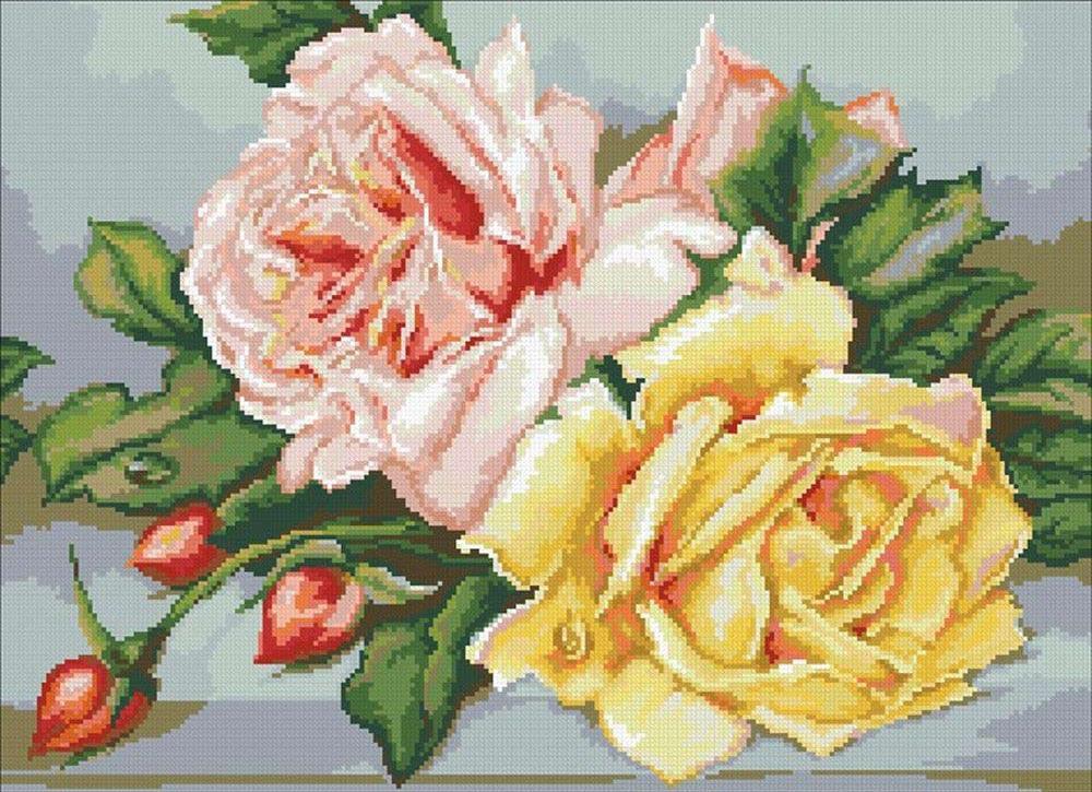 Алмазная вышивка «Трио чайных роз»Алмазная вышивка Паутинка<br><br><br>Артикул: М-246<br>Основа: Холст без подрамника<br>Сложность: очень сложные<br>Размер: 55x40 см<br>Выкладка: Полная<br>Количество цветов: 33<br>Тип страз: Квадратные