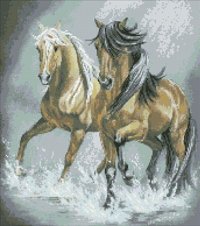 Стразы «Пара лошадей»Алмазная вышивка Паутинка<br><br><br>Артикул: М-344<br>Основа: Холст без подрамника<br>Сложность: сложные<br>Размер: 40x45 см<br>Выкладка: Полная<br>Количество цветов: 30<br>Тип страз: Квадратные
