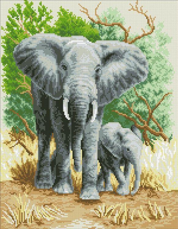 Алмазная вышивка «Слоны»Алмазная вышивка Паутинка<br><br>