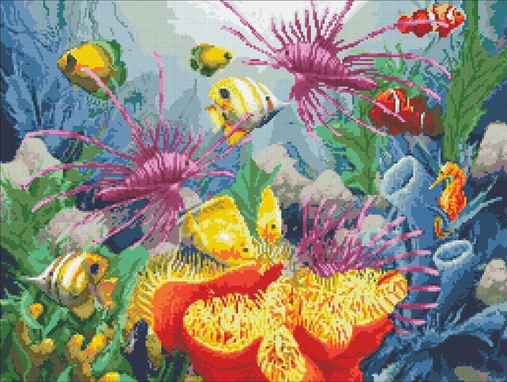 Стразы «Подводный мир»Алмазная вышивка Паутинка<br><br><br>Артикул: М-350<br>Основа: Холст без подрамника<br>Сложность: очень сложные<br>Размер: 60x45 см<br>Выкладка: Полная<br>Количество цветов: 46<br>Тип страз: Квадратные