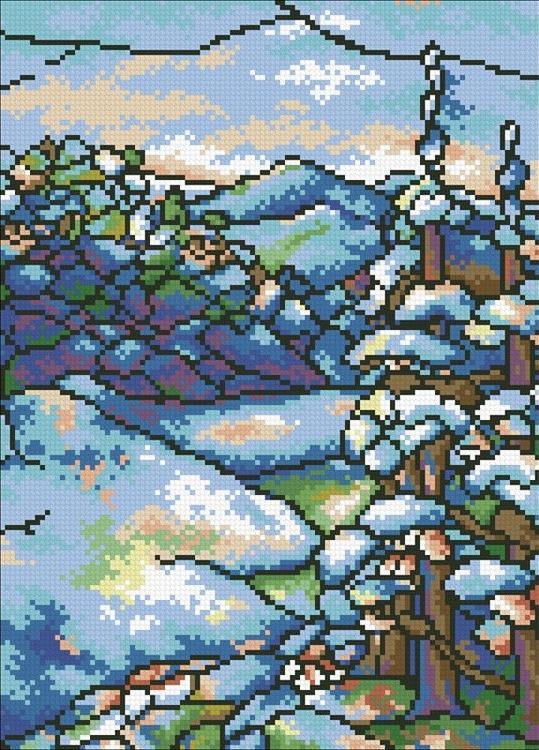 Алмазная вышивка «Витраж Зима»Алмазная вышивка Паутинка<br><br><br>Артикул: М-436<br>Основа: Холст без подрамника<br>Сложность: средние<br>Размер: 25x35 см<br>Выкладка: Полная<br>Количество цветов: 18<br>Тип страз: Квадратные