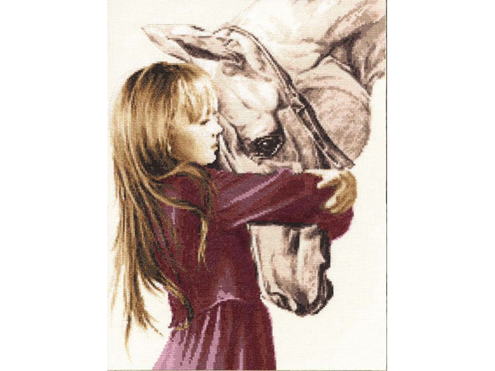 Набор для вышивания «Девочка с лошадью»Вышивка крестом Золотое Руно<br><br><br>Артикул: СВ-016<br>Основа: канва Aida 14<br>Размер: 40x29 см<br>Техника вышивки: счетный крест<br>Тип схемы вышивки: Черно-белая схема<br>Цвет канвы: Кремовый<br>Количество цветов: 23<br>Заполнение: Частичное<br>Рисунок на канве: не нанесён<br>Техника: Вышивка крестом<br>Нитки: мулине Madeira