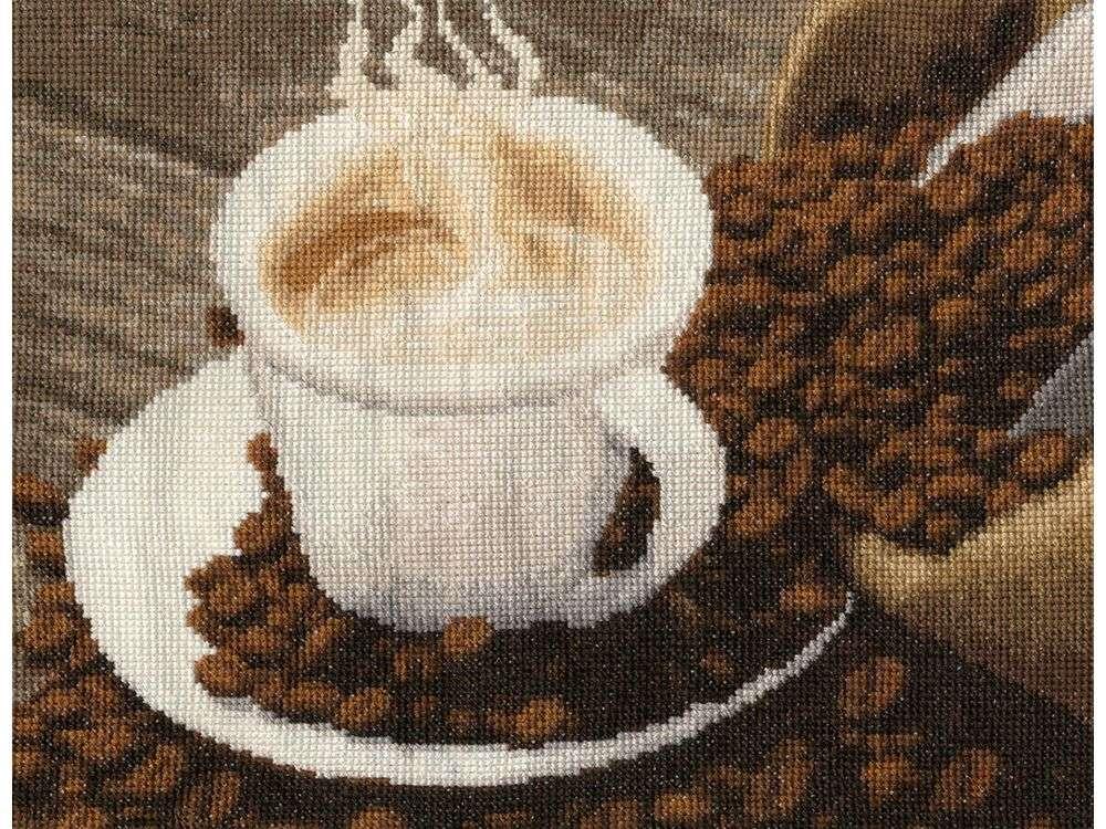Набор для вышивания «Ароматный кофе»Вышивка крестом Золотое Руно<br><br><br>Артикул: СЖ-040<br>Основа: канва Aida 16<br>Размер: 17,7x22,9 см<br>Техника вышивки: счетный крест<br>Тип схемы вышивки: Черно-белая схема<br>Цвет канвы: Кремовый<br>Количество цветов: 25<br>Заполнение: Полное<br>Рисунок на канве: не нанесён<br>Техника: Вышивка крестом<br>Нитки: мулине Madeira