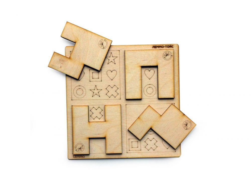 Набор деревянный игра «Умные фигурки»Настольные развивающие игры<br>Все детали выполнены из качественной древесины и имеют сильный насыщенный запах дерева. Занимательная игра «Умные фигурки» развивает логику и мышление.<br> <br> Правила: игра состоит из 40 заданий разной сложности. Для выполнения задания нужно выложить на игр...<br><br>Артикул: 00-7<br>Вес упаковки: 140 г<br>Размер упаковки: 16,5x16,5 см<br>Возраст: от 5 лет<br>Время игры: 10-20 мин.<br>Количество игроков: 1+<br>Аудитория: Детские