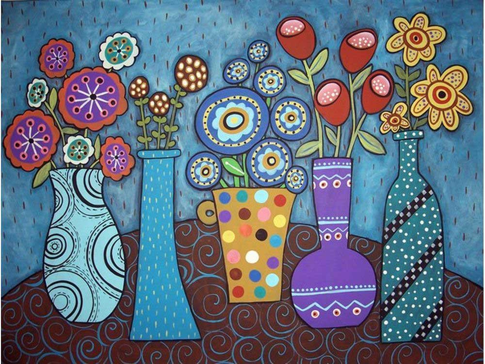 Картина цветным песком «Вазы на столе» Карлы ЖерарКартины из цветного песка<br>Картины песком завоевали популярность среди взрослых и детей благодаря интересному творческому процессу и прекрасному результату. Мы разнообразили ассортимент в этом виде творчества, и теперь наши покупатели могут создавать полюбившиеся композиции из сери...<br><br>Артикул: 304001029<br>Размер: 30x40 см<br>Количество цветов: 25<br>Упаковка: Картонная коробка