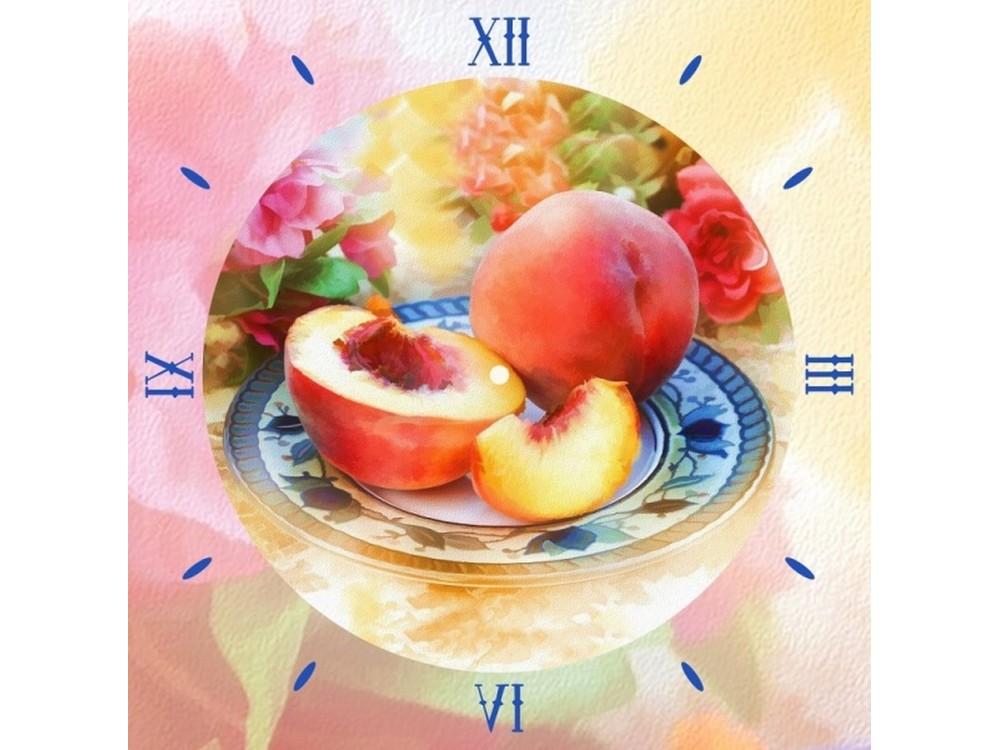 Алмазные часы «Солнечные персики»Color Kit (Алмазные часы)<br><br><br>Артикул: 7303005<br>Основа: Холст на подрамнике<br>Сложность: сложные<br>Размер: 30x30 см<br>Выкладка: Частичная<br>Количество цветов: 15-25<br>Тип страз: Круглые непрозрачные (акриловые)