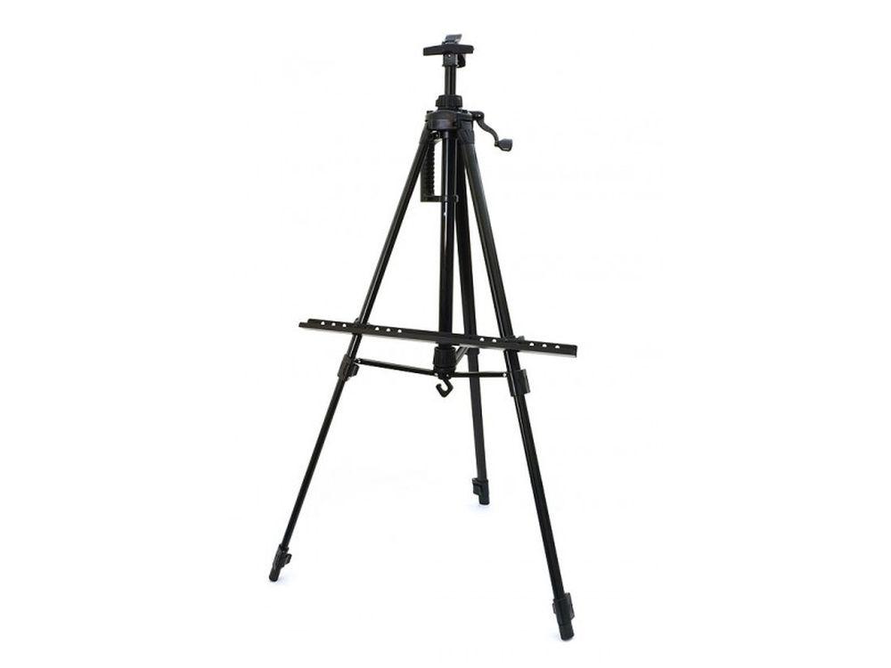 Мольберт-тренога телескопический (черный)Мольберты<br>- Мольберт можно устанавливать на столе, на полу или же рисовать на природе. <br> - Легкий и компактный мольберт в форме треноги с ножками и перекладинами из алюминия удобен для рисования картин по номерам. <br> - Телескопические ножки быстро выдвигаются, на ...<br><br>Артикул: 76-BS