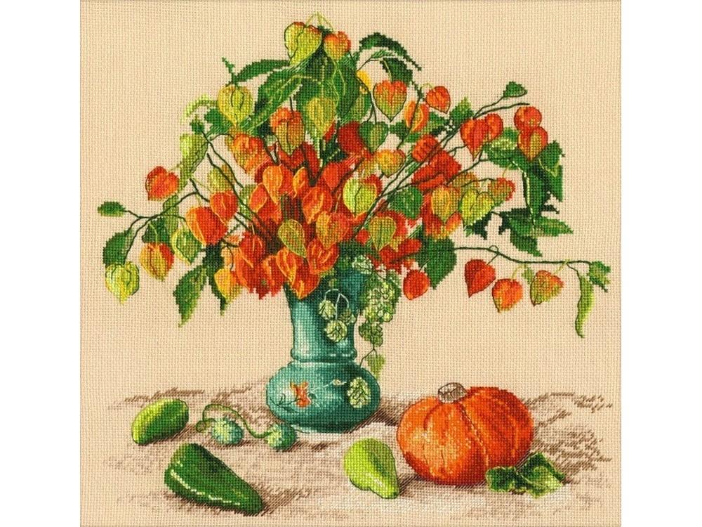 Набор для вышивания «Осенние фонарики»Вышивка крестом Овен<br><br><br>Артикул: 987<br>Основа: канва Aida 16<br>Размер: 28x29 см<br>Техника вышивки: счетный крест<br>Тип схемы вышивки: Цветная схема<br>Цвет канвы: Темно-бежевый<br>Количество цветов: 26<br>Заполнение: Частичное<br>Рисунок на канве: не нанесён<br>Техника: Вышивка крестом