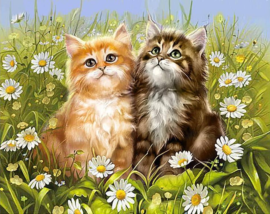 Стразы «Летние котята»Алмазная вышивка Гранни<br><br><br>Артикул: Ag092<br>Основа: Холст без подрамника<br>Сложность: сложные<br>Размер: 38x48 см<br>Выкладка: Полная<br>Количество цветов: 47<br>Тип страз: Квадратные
