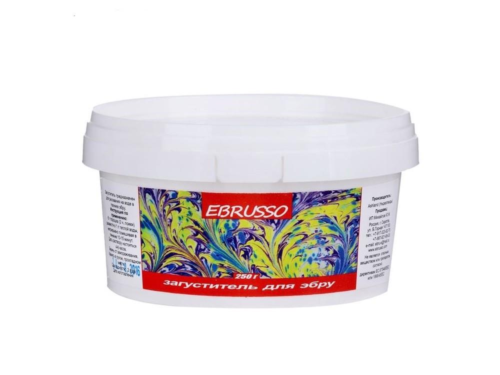 Загуститель для эбру Ebrusso (250 г)Рисование на воде Эбру<br>Наборы от EBRUSSO помогут научиться создавать произведения искусства с помощью воды и красок. Техника Эбру - искусство рисования на воде, сочетает в себе живопись и эстамп (оттиск на любой поверхности), позволяет воплотить свои эмоции и чувства в карт...<br><br>Артикул: EBR17<br>Объем: 250 г