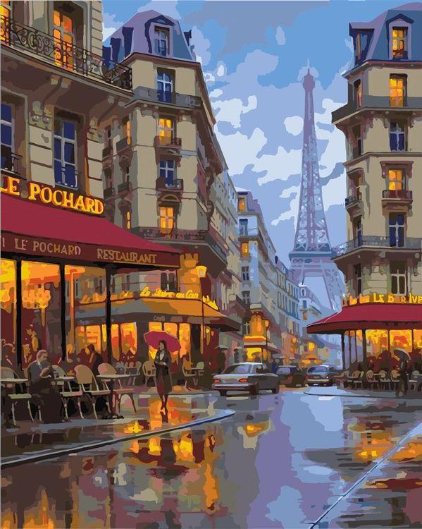 «Улицы Парижа»Paintboy (Premium)<br><br><br>Артикул: GX3525<br>Основа: Холст<br>Сложность: средние<br>Размер: 40x50 см<br>Количество цветов: 26<br>Техника рисования: Без смешивания красок