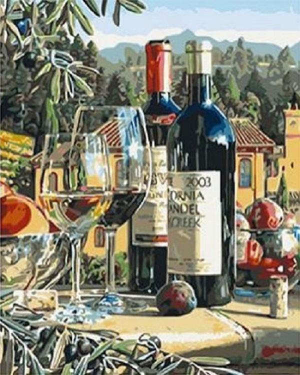 Картина по номерам «Винный натюрморт» Эрика КристенсенаPaintboy (Premium)<br><br><br>Артикул: GX3955<br>Основа: Холст<br>Сложность: средние<br>Размер: 40x50 см<br>Количество цветов: 24<br>Техника рисования: Без смешивания красок