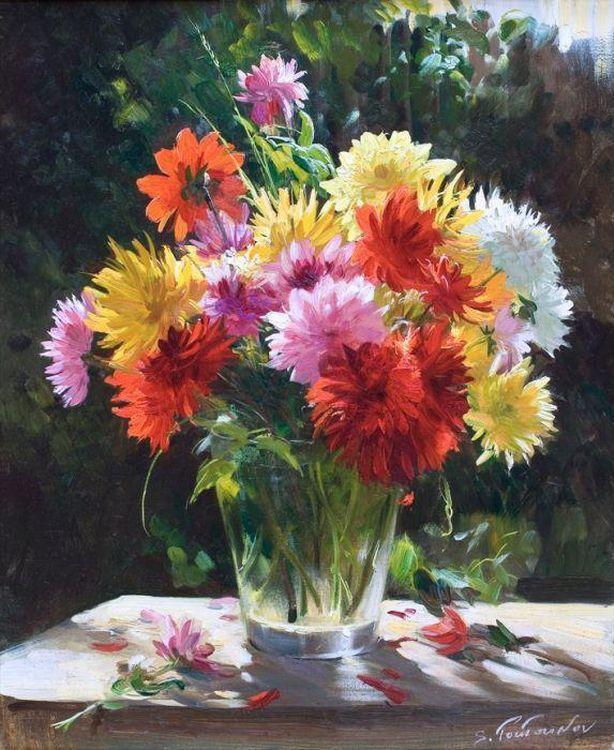 Картина по номерам «Осенние цветы» Сергея ТутуноваPaintboy (Premium)<br><br><br>Артикул: GX4146<br>Основа: Холст<br>Сложность: сложные<br>Размер: 40x50 см<br>Количество цветов: 24<br>Техника рисования: Без смешивания красок