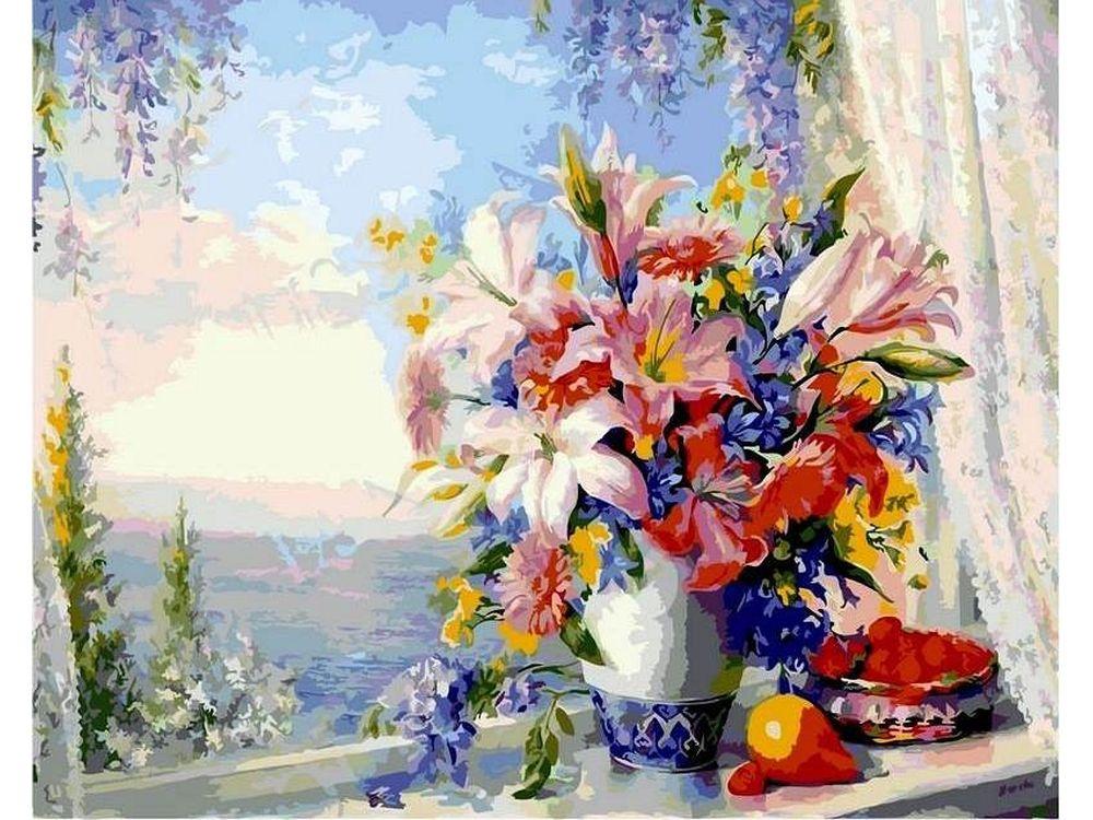 Картина по номерам «Лилии на окне»Paintboy (Premium)<br><br><br>Артикул: GX4562<br>Основа: Холст<br>Сложность: сложные<br>Размер: 40x50 см<br>Количество цветов: 25<br>Техника рисования: Без смешивания красок