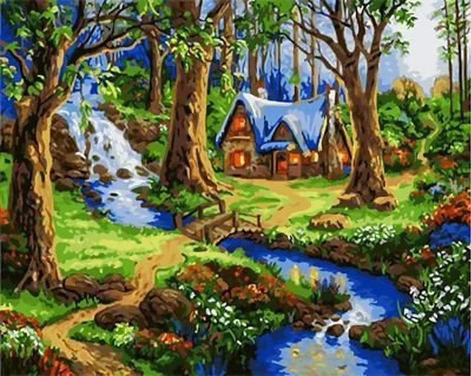 Картина по номерам «Лесной домик»Paintboy (Premium)<br><br><br>Артикул: GX4679<br>Основа: Холст<br>Сложность: средние<br>Размер: 40x50 см<br>Количество цветов: 27<br>Техника рисования: Без смешивания красок