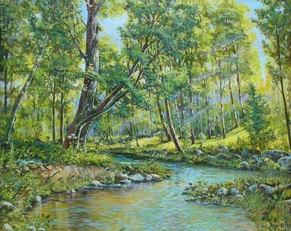 Картина по номерам «Ручей в лесу»Раскраски по номерам<br><br>