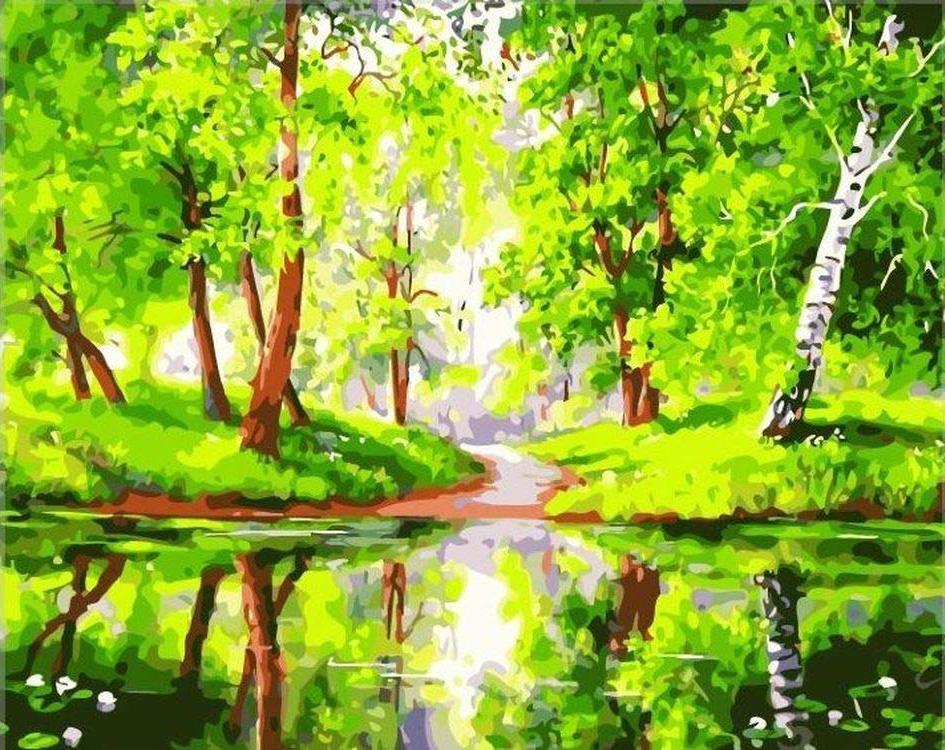 «Лесное зеркало»Paintboy (Premium)<br><br><br>Артикул: GX7198<br>Основа: Холст<br>Сложность: сложные<br>Размер: 40x50 см<br>Количество цветов: 21<br>Техника рисования: Без смешивания красок