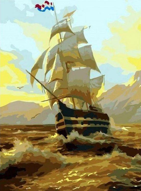 «Корабль на рассвете»Paintboy (Premium)<br><br><br>Артикул: GX7278<br>Основа: Холст<br>Сложность: средние<br>Размер: 40x50 см<br>Количество цветов: 22<br>Техника рисования: Без смешивания красок