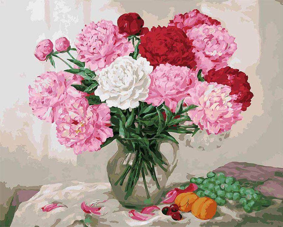 Картина по номерам «Пионы и виноград»Paintboy (Premium)<br><br><br>Артикул: GX8113<br>Основа: Холст<br>Сложность: сложные<br>Размер: 40x50 см<br>Количество цветов: 29<br>Техника рисования: Без смешивания красок
