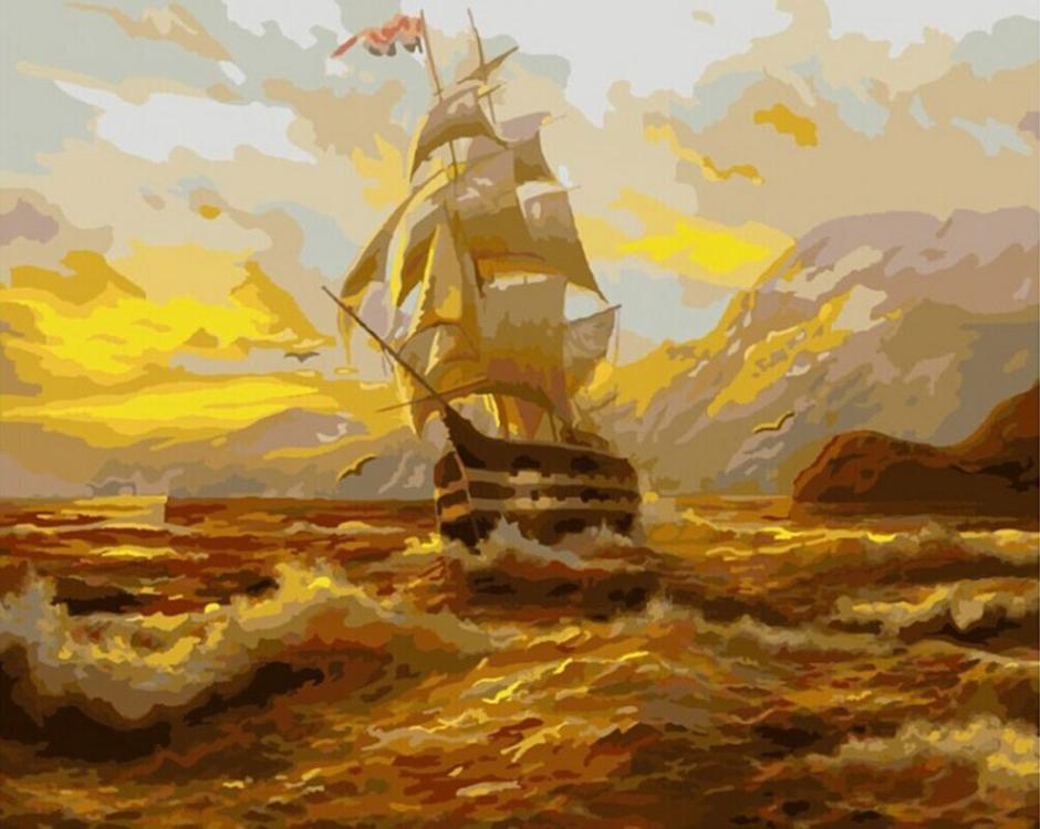 «Бурное море»Paintboy (Premium)<br><br><br>Артикул: GX9083<br>Основа: Холст<br>Сложность: средние<br>Размер: 40x50 см<br>Количество цветов: 27<br>Техника рисования: Без смешивания красок