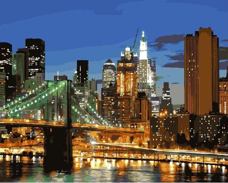«Бруклинский мост»Paintboy (Premium)<br><br><br>Артикул: GX9257<br>Основа: Холст<br>Сложность: средние<br>Размер: 40x50 см<br>Количество цветов: 26<br>Техника рисования: Без смешивания красок