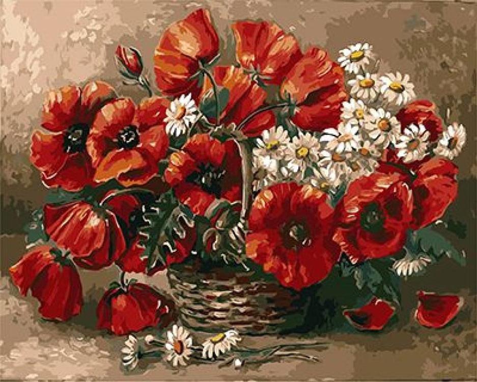 «Ромашки и маки»Paintboy (Premium)<br><br><br>Артикул: GX9390<br>Основа: Холст<br>Сложность: средние<br>Размер: 40x50 см<br>Количество цветов: 24<br>Техника рисования: Без смешивания красок