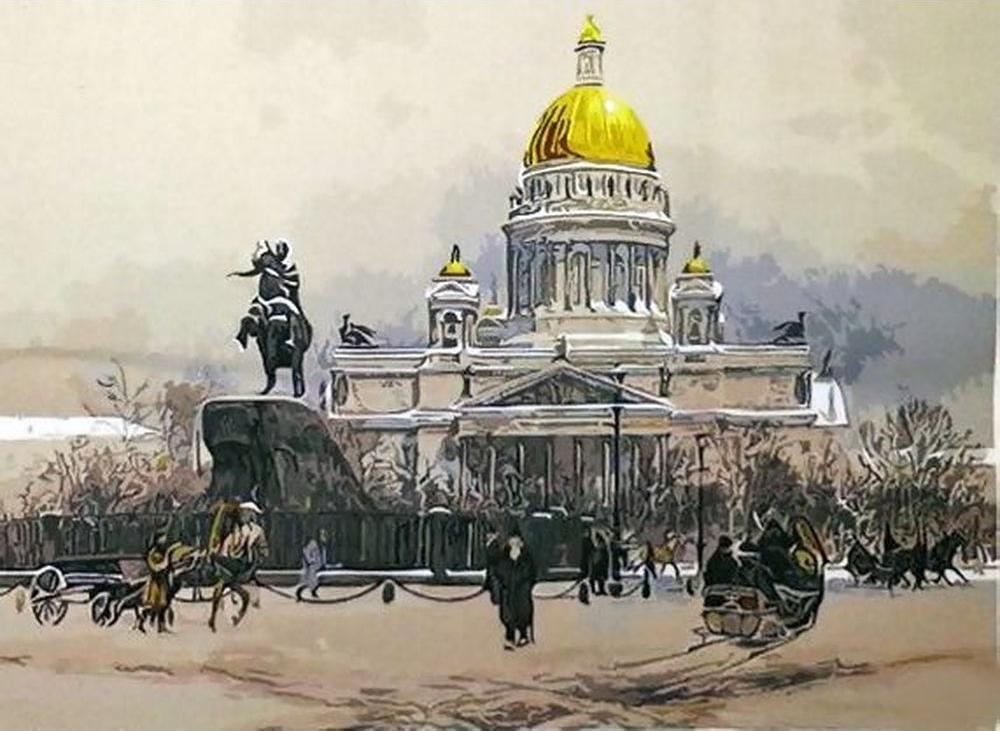 Картина по номерам «Санкт-Петербург XIX век»Molly<br><br><br>Артикул: GX9830_M<br>Основа: Холст<br>Сложность: очень сложные<br>Размер: 40x50 см<br>Количество цветов: 19<br>Техника рисования: Без смешивания красок