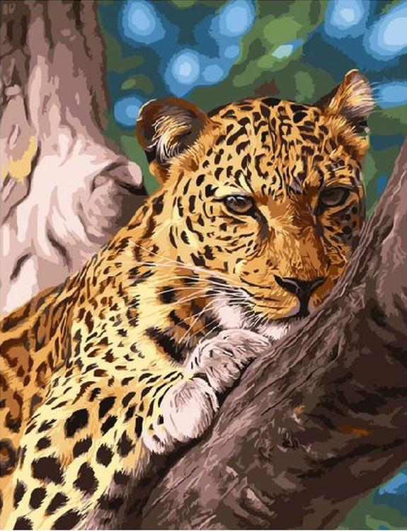 «Леопард на отдыхе»Paintboy (Premium)<br><br><br>Артикул: GX9987<br>Основа: Холст<br>Сложность: средние<br>Размер: 40x50 см<br>Количество цветов: 24<br>Техника рисования: Без смешивания красок
