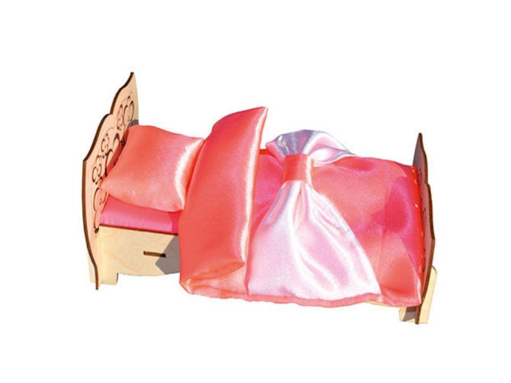 Конструктор «Кровать со спальным набором»Конструкторы Happykon<br>Все детали выполнены из качественной древесины и имеют сильный насыщенный запах дерева. Мебель можно декорировать по желанию акриловыми или гуашевыми красками.<br><br>Артикул: HK-M013<br>Размер: 31,9x14x11,8 см<br>Материал: дерево (фанера)<br>Возраст: от 5 лет