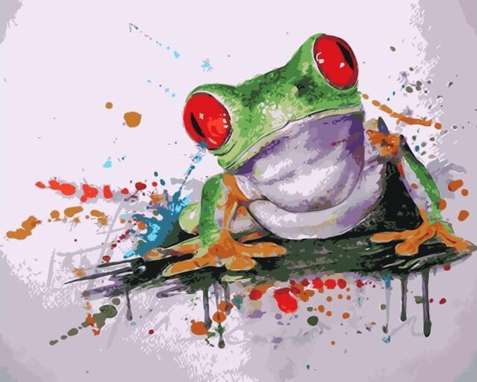 «Древесная лягушка»Цветной (Premium)<br><br><br>Артикул: MC1040_Z<br>Основа: Холст<br>Сложность: средние<br>Размер: 20x30 см<br>Количество цветов: 10-15<br>Техника рисования: Без смешивания красок