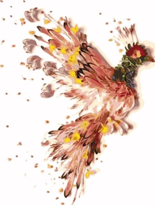 «Птица счастья»Цветной (Premium)<br><br><br>Артикул: MC1046_Z<br>Основа: Холст<br>Сложность: средние<br>Размер: 20x30 см<br>Количество цветов: 10-15<br>Техника рисования: Без смешивания красок