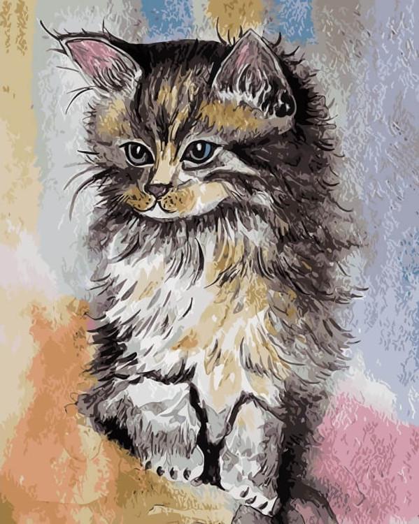 «Котенок»Цветной (Premium)<br><br><br>Артикул: ME1066_Z<br>Основа: Холст<br>Сложность: средние<br>Размер: 30x40 см<br>Количество цветов: 25<br>Техника рисования: Без смешивания красок