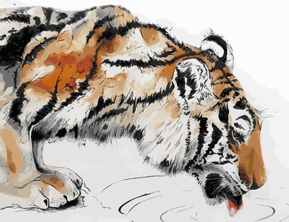 «Тигр на водопое»Цветной (Premium)<br><br><br>Артикул: ME1067_Z<br>Основа: Холст<br>Сложность: средние<br>Размер: 30x40 см<br>Количество цветов: 25<br>Техника рисования: Без смешивания красок