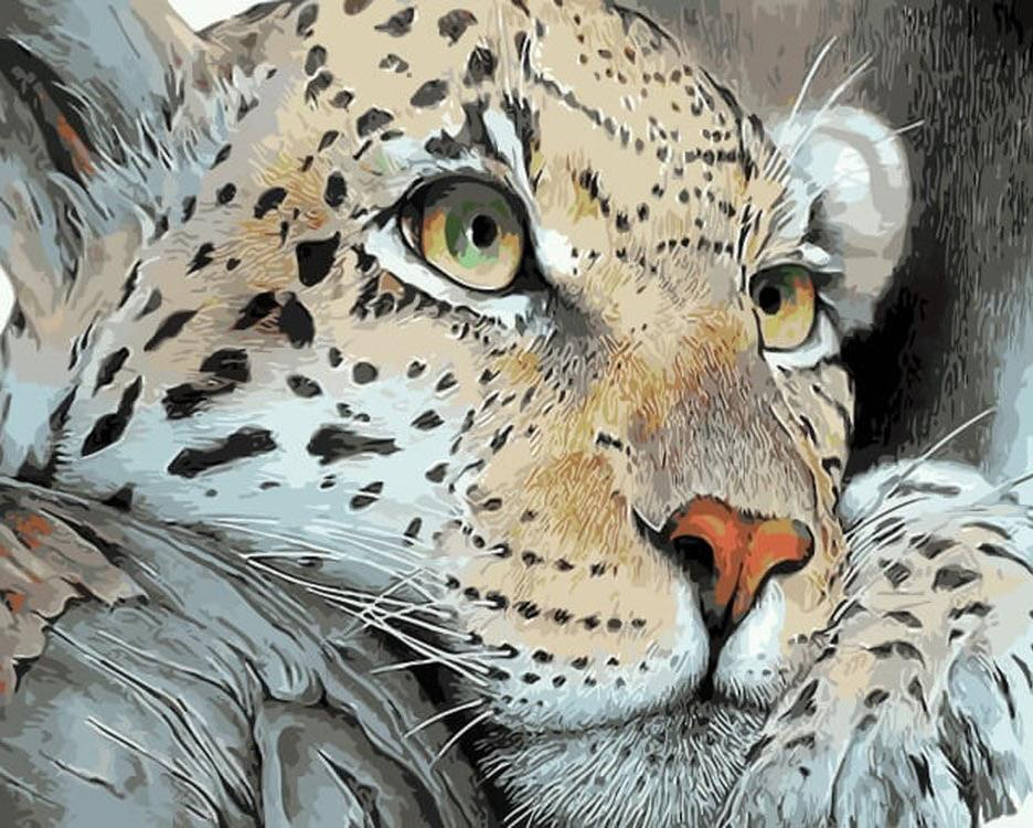 «Леопард на отдыхе»Цветной (Premium)<br><br><br>Артикул: ME1071_Z<br>Основа: Холст<br>Сложность: средние<br>Размер: 30x40 см<br>Количество цветов: 25<br>Техника рисования: Без смешивания красок