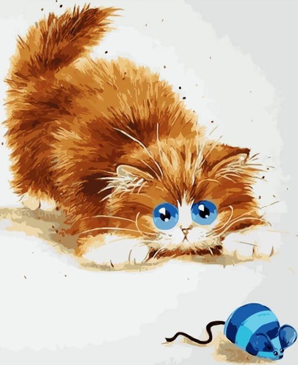 Картина по номерам «Кошки-мышки» Ким ХаскинсЦветной (Premium)<br><br><br>Артикул: ME1073_Z<br>Основа: Холст<br>Сложность: средние<br>Размер: 30x40 см<br>Количество цветов: 25<br>Техника рисования: Без смешивания красок