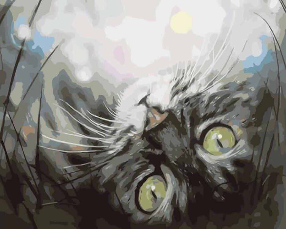 Картина по номерам «Кошечка в мечтах»Цветной (Premium)<br><br><br>Артикул: ME1074_Z<br>Основа: Холст<br>Сложность: средние<br>Размер: 30x40 см<br>Количество цветов: 25<br>Техника рисования: Без смешивания красок